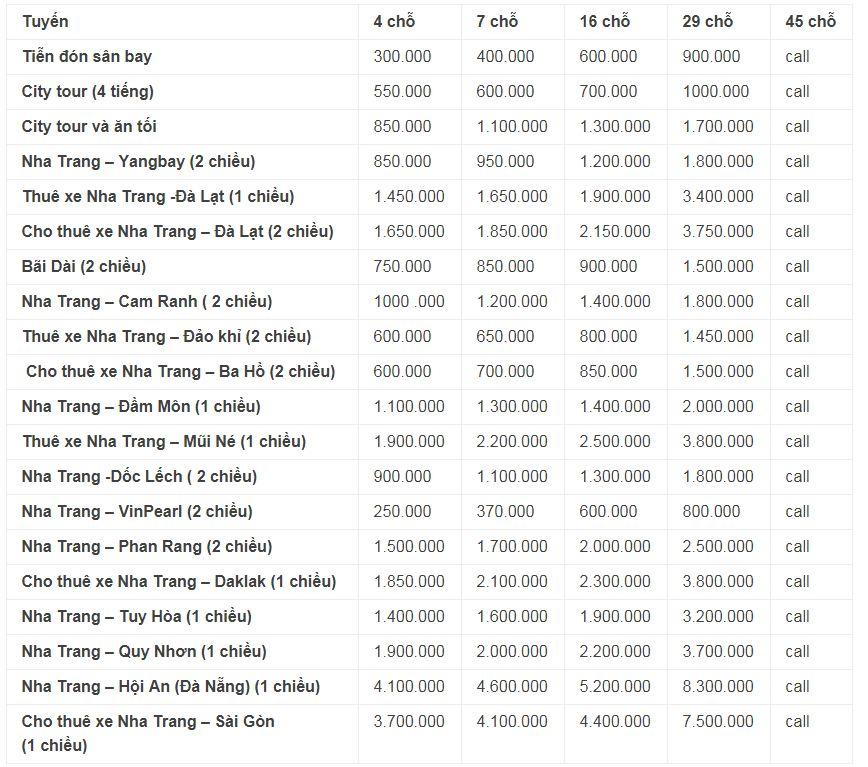 Bảng giá cho thuê xe ô tô tại Nha Trang - 2